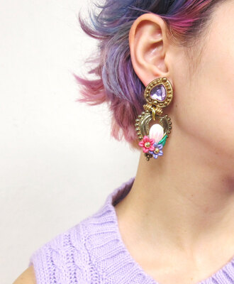 jewels fake gems fake plastic flowers gems gold earrings kitschy kitsch