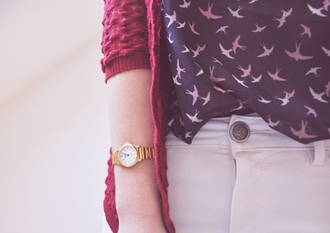 blouse birds navy cardigan gold watch burgundy ribbed cardigan coat