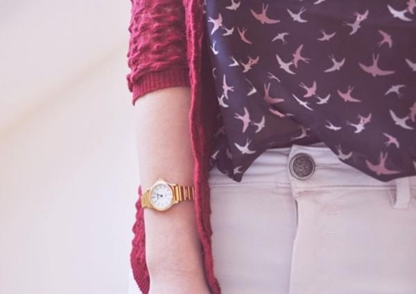 blouse birds navy cardigan gold watch burgundy ribbed cardigan coat