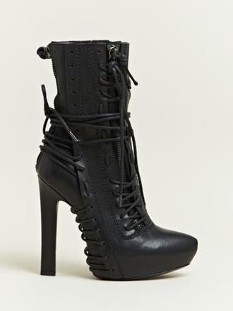 shoes boots heel boots heel boots black lace up laces platform high heels platform boots rock