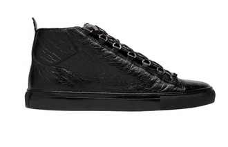 shoes black balenciaga arena black leather