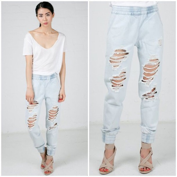 7a735fd036f pants ripped jeans acid wash elastic waist destroyed high wasted joggers  comfy