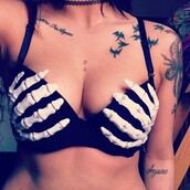 underwear,skeleton,bra,bones,top,clothes,skull,hands,bikini,black,white,cool,nice,cute,swimwear,pretty,crop tops,High waisted shorts,black and white,blonde hair