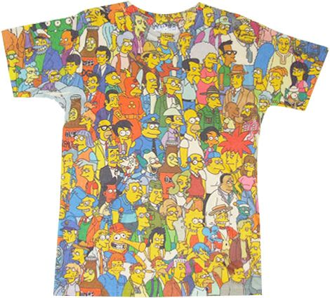 The Simpsons Springfield Crowd Photosheer Beige Adult T-Shirt - The Simpsons - | TV Store Online