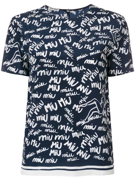 Miu Miu top women blue silk