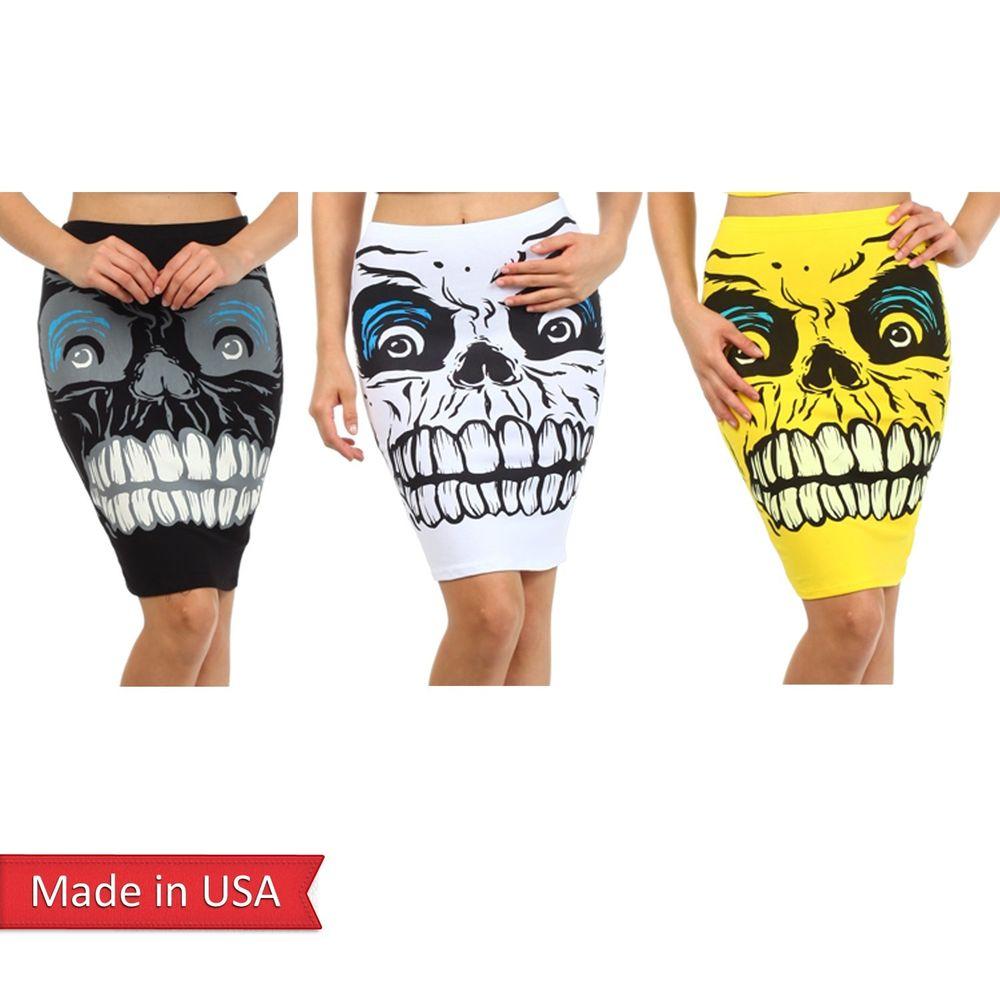 Monster Zombie Spooky Skull Face Print Black White Yellow Pencil Mini Skirt USA