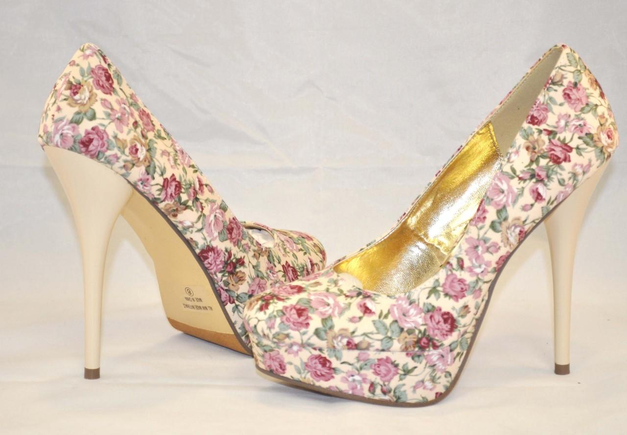 Fahrenheit landi 10 beige floral platform heels pumps woman shoes sz 5 5 and 8