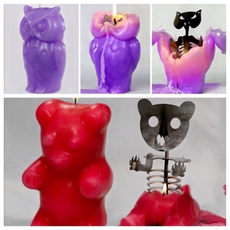 home accessory animal skeleton candle creepy creepy kawaii purple owl bear skeleton skull candle halloween decor