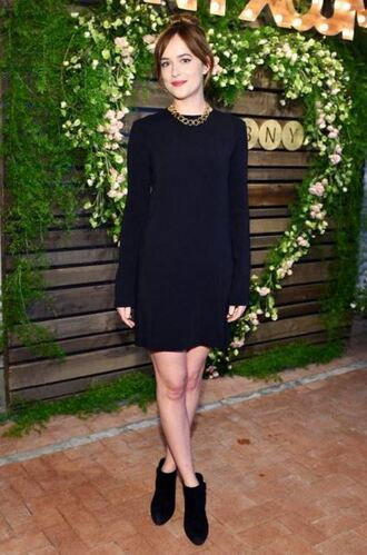 dress dakota johnson all black everything mini dress ankle boots necklace shoes