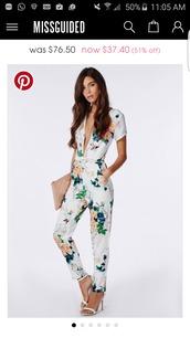 dress,jumpsuit,floral jumpsuit,sandals,white sandals,bag,nude bag