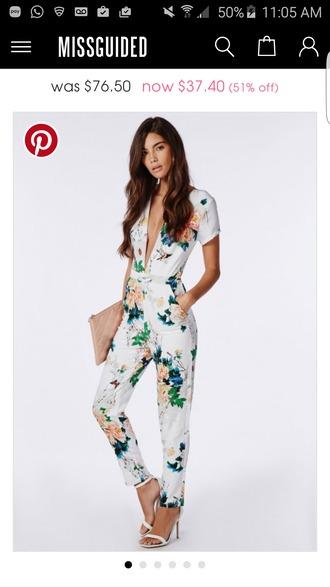 dress jumpsuit floral jumpsuit sandals white sandals bag nude bag