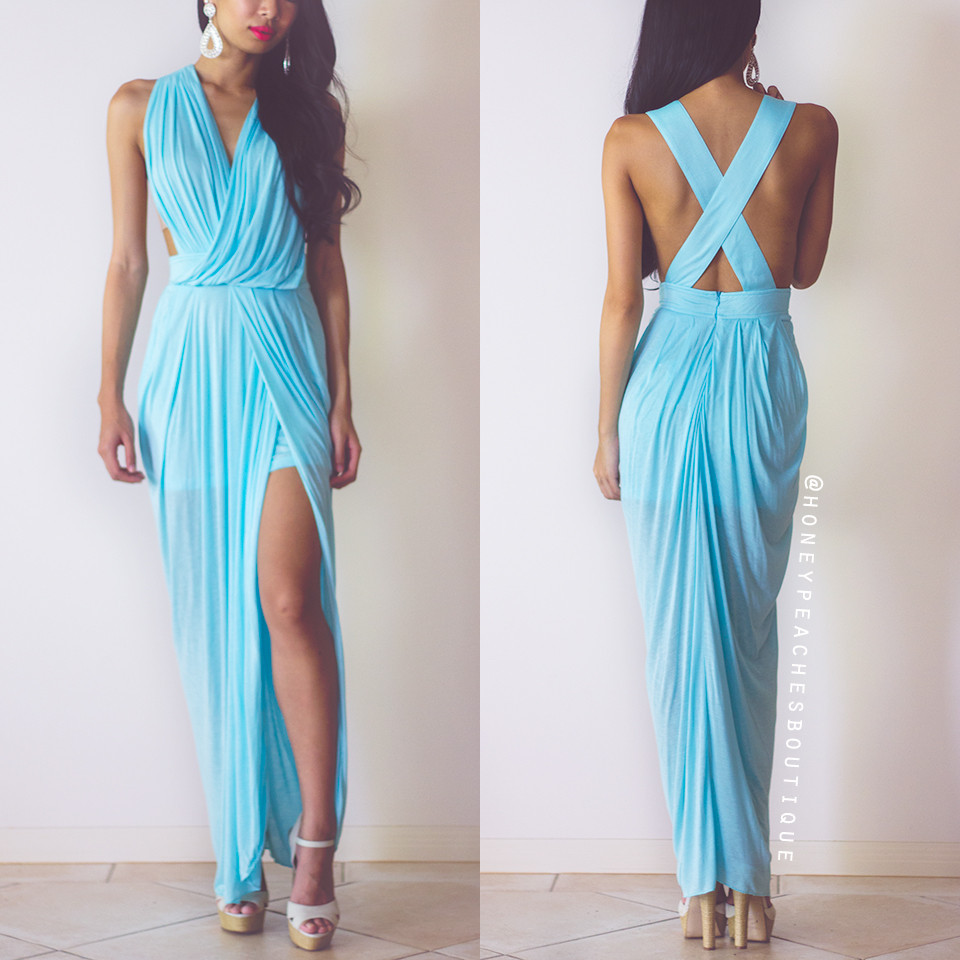 in Stock: Timeless Grecian Maxi Dress - Baby Blue – Honey Peaches