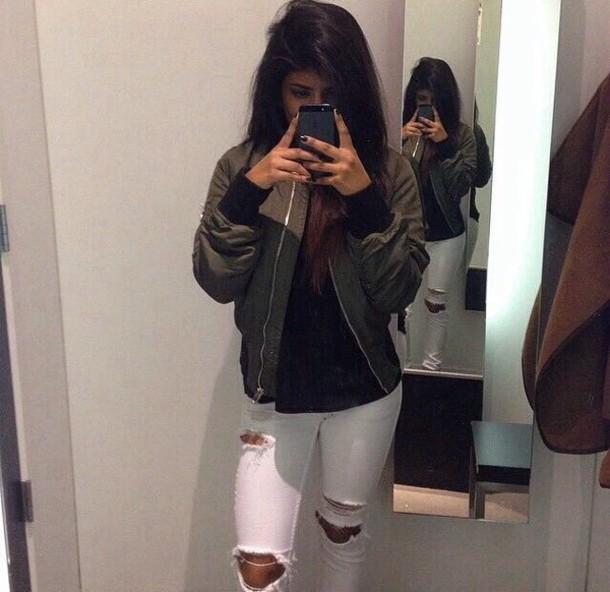 jacket bomber jacket green jacket green khaki ripped jeans white