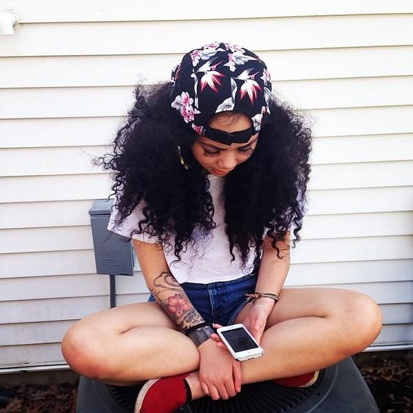 hat snapback girl floral tattoo