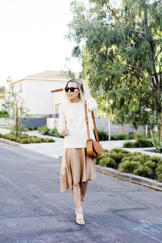 damsel in dior blogger circle skirt nude skirt sweater shoes