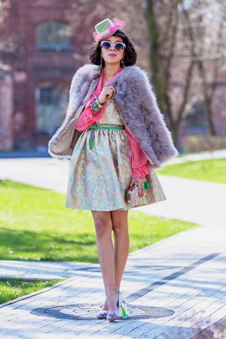 macademian girl coat blouse dress shoes bag sunglasses jewels belt