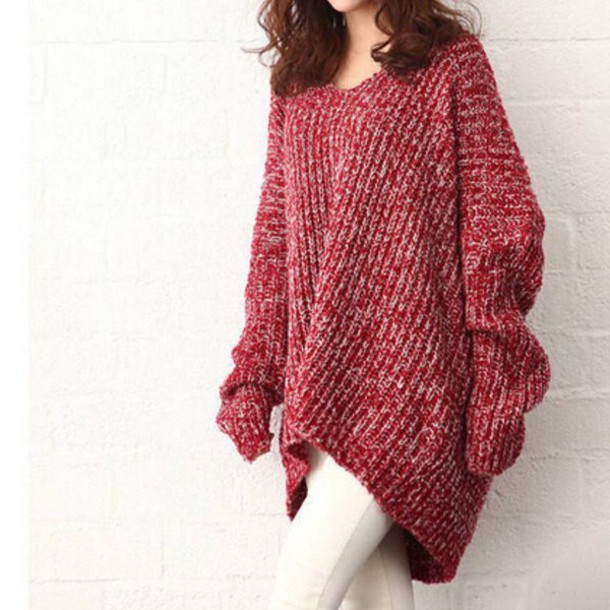 Sweater: doublelw, oversized sweater, burgundy, red, knitwear, top ...