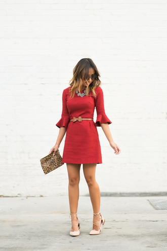 lace and locks blogger top dress sunglasses belt jewels shoes bag printed pouch animal print bag red dress bell sleeves bell sleeve dress mini dress short dress bell sleeves dress necklace flats pointed flats lace up flats date outfit date dress