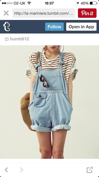 jumpsuit dungaree short light denim soft denim material small pocket tumblr dungarees rolled up shorts pinterest tumblr outfit