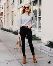 sweater,knitted sweater,cashmere jumper,waffles,ankle boots,suede boots,handbag,jeans,skinny jeans,black jeans,logo belt,aviator sunglasses