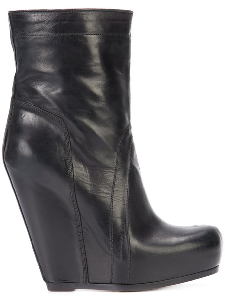 wedge boots women leather black shoes