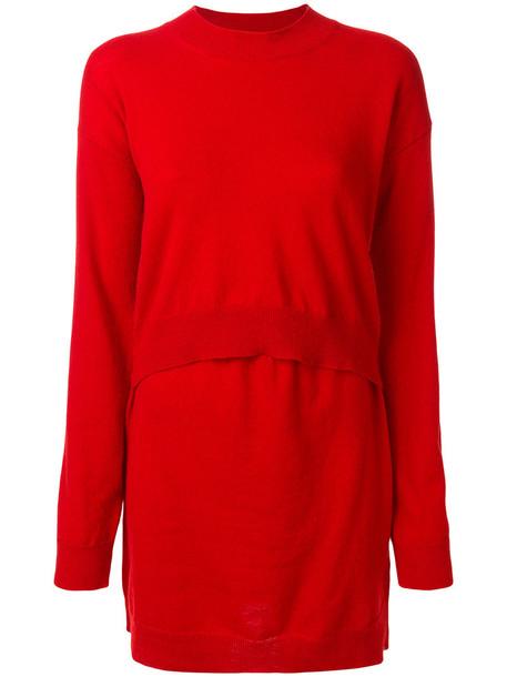 sweater women layered wool red