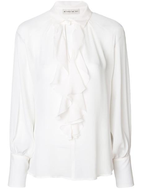 ETRO blouse ruffle women white cotton silk top