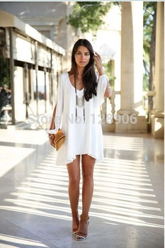 Aliexpress.com : Buy 2014 Summer New Women's Dresses Loose Round Neck Strapless A line Casual Chiffon Celebrity Mini White Plus size Beach Dresses from Reliable mini fancy dress suppliers on Babyzone