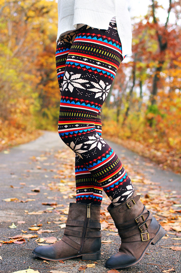 Plus Size Fair Isle Leggings - Hardon Clothes
