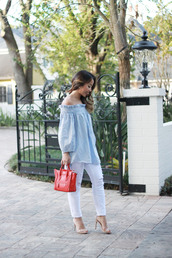 i am khatu,blogger,white ripped jeans,off the shoulder top,blue top,mini bag,celine bag,nude sandals,blue off shoulder top,off the shoulder,red bag,celine,long sleeves,ripped jeans,white jeans,sandals,sandal heels,high heel sandals,spring outfits