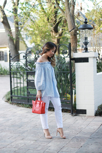 i am khatu blogger white ripped jeans off the shoulder top blue top mini bag celine bag nude sandals blue off shoulder top off the shoulder red bag celine long sleeves ripped jeans white jeans sandals sandal heels high heel sandals spring outfits
