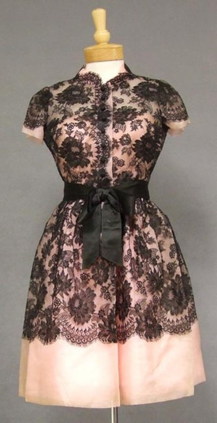 Dress Pink Black Lace Cap Sleeves Button Up Waist Sash Baby