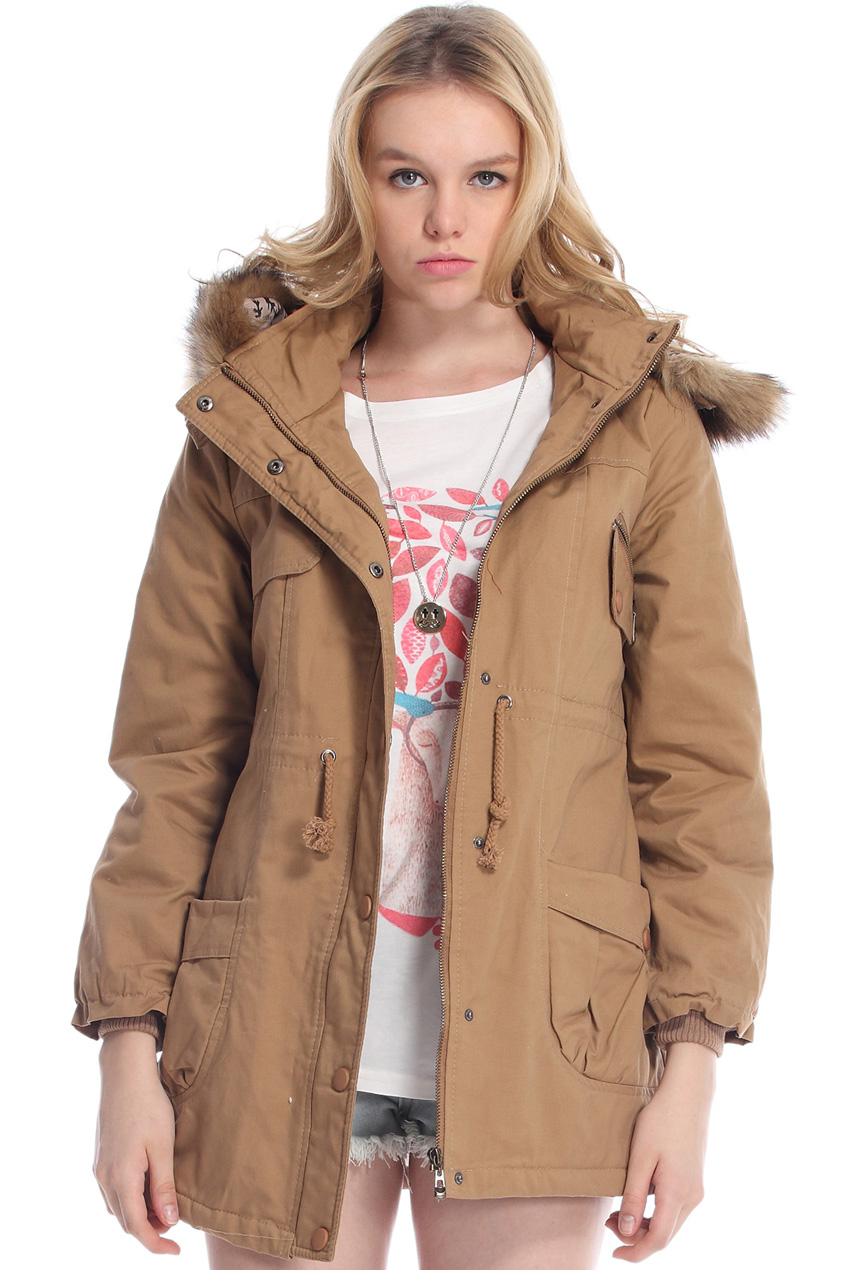 ROMWE | Khaki Detachable Fur Trimmed Hood Lined Parka, The Latest Street Fashion