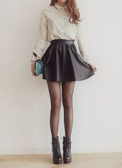 skirt,boots,black boots,tights,black skater skirt,skater skirt,black skirt,blouse,white blose,purse,shoes,shirt,brown,heels,black,vintage,fashon,polka dots shirt,leather skater skirt,leather,sexy,hot,sweet,outfit,black leather skirt,style,leather skirt,skater,denim,casual,short,high heels,wedges,lace up,nude,bag,long,t-shirt,classy,circle skirt,fall outfits,winter outfits,winter boots,platform shoes,platform lace up boots,polka dots,white t-shirt,white crop tops,long sleeves,print,fashion,streetwear,streetstyle,tank top,pinterest,top,flare skirt,lovely,????,cute,tumblr,tight,cool,cut shoes,cute top,awesoe cute shoes,pokadots,white top