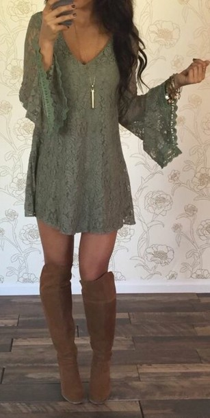 dress short dress bell sleeves mini dress long sleeves green dress knee high boots brown boots suede boots green lace lace dress olive green olive lace dress country olive green lace dress white