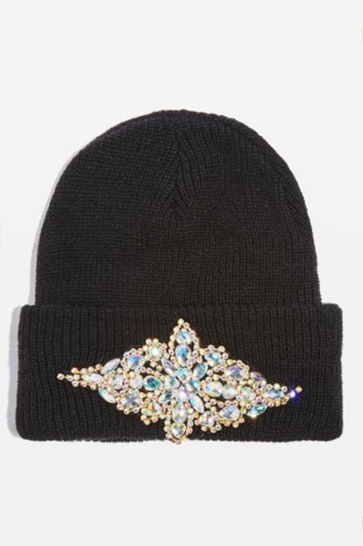 Topshop bling hat beanie black