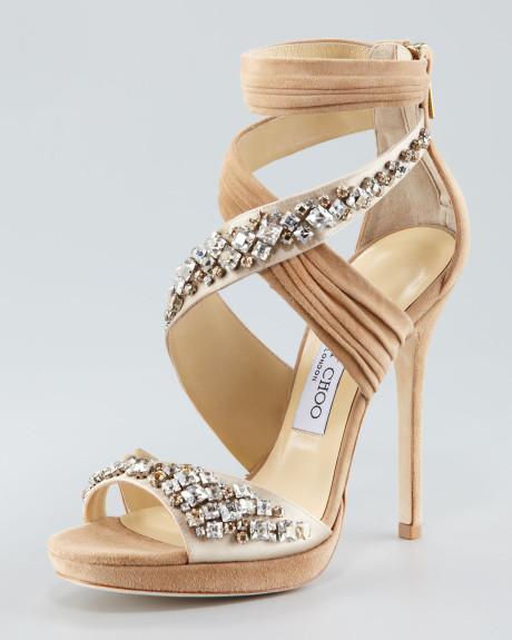 Jimmy choo beige kani crisscross platform sandal