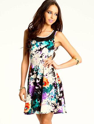 dress open sides sundress summer dress floral open back side cutout dress cut-out dress