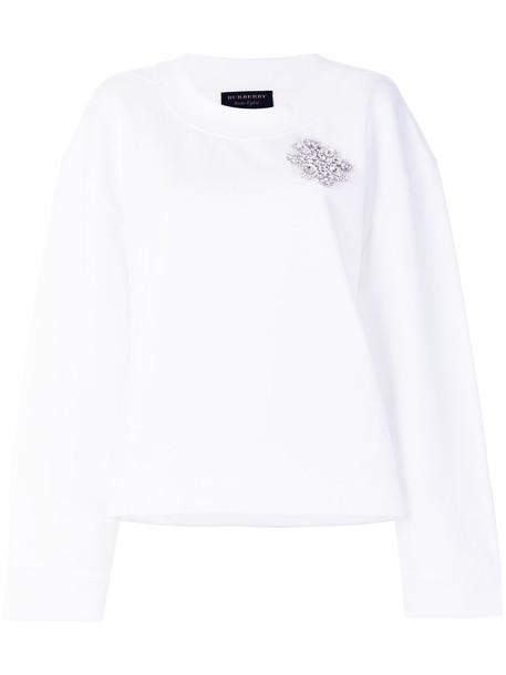 Burberry sweatshirt women embellished white cotton sweater