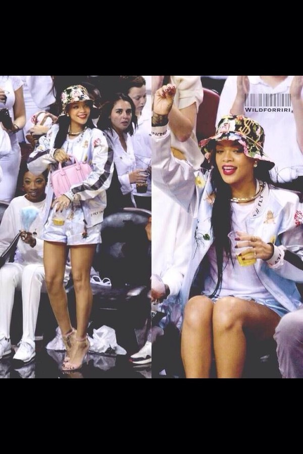 hat celebrity rihanna floral shorts