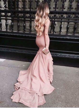 dress blush pink prom dress gown mermaid prom dress spring dress formal dress long prom dress luxury prom pink blush waterfall ruffle train beautiful pink dress ruffle pink dress rose prom gown mauve light pink long dress flowy dress wedding dress dresses with trains maxi dress mermaid dresses fashion style graduation dress floor-length prom dress straight prom dress pink prom dress chiffon prom dress 2016 prom dress blush dress backless special occasion dress