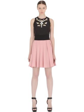 dress pleated embellished black pink