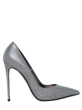 pumps leather silver shoes