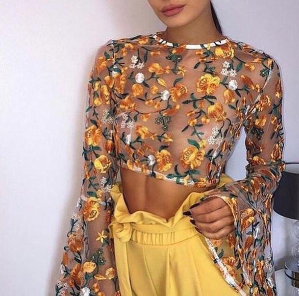 Top sheer flowers white yellow orange croptoptshirt long sleeves baddies bad af fashion ...