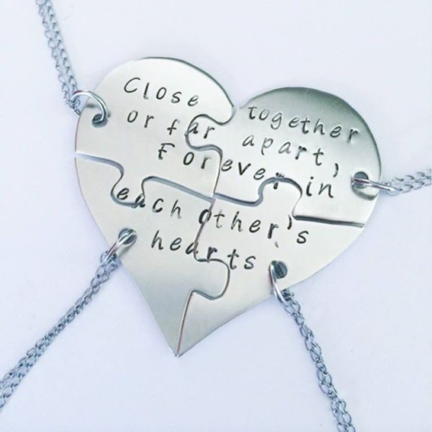jewels necklaces for 4 bff friends heart