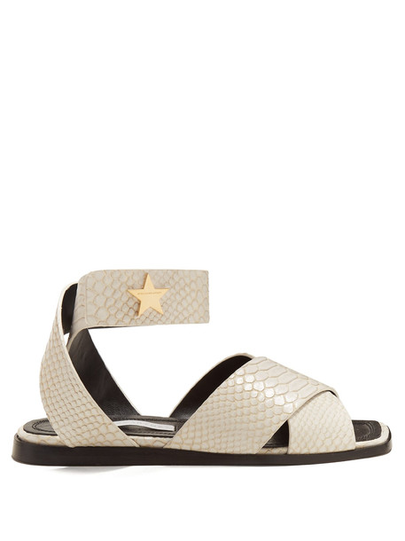 cross python sandals white shoes