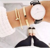 jewels,bracelets,gold jewelry,minimalist jewelry,sweater,armband!*-*',armbanduhr,watch,clock,shoes,flats,white,gold,modern,daniel wellington