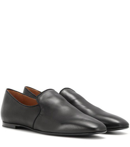 The Row Alys Leather Slippers in black