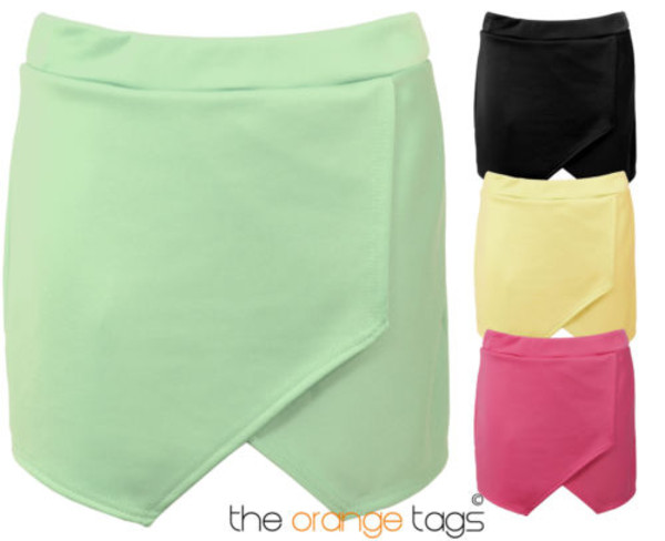 skirt casual wrap skorts short irregular laminated mini shorts mint black pink lemon sexy summer spring trendy flange summer outfits