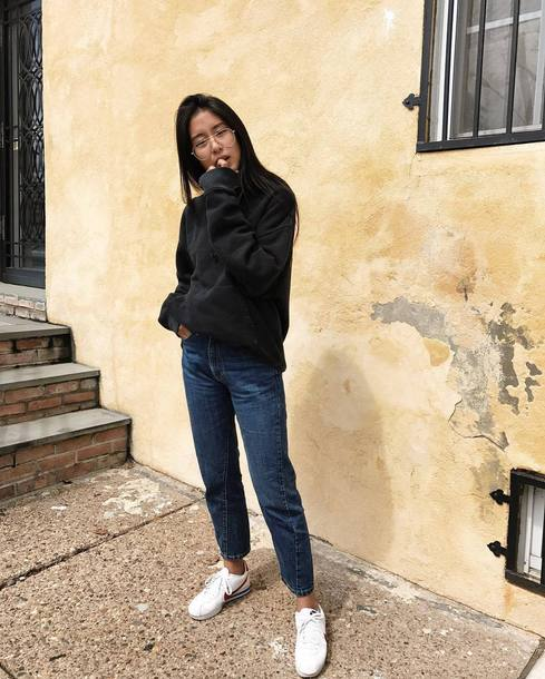 new style 003a6 fa3e0 shoes black sweater tumblr sneakers nike nike cortez low top sneakers white  sneakers sweater denim jeans